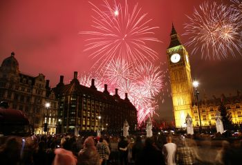 Silvester Feuerwerk in London am Big Ben